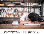asian woman is resting and... | Shutterstock . vector #1120039133