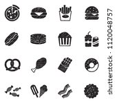 fast food icons. black scribble ... | Shutterstock .eps vector #1120048757