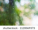 rain drops on the window pane...   Shutterstock . vector #1120069373