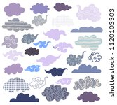 set of doodle  different clouds.... | Shutterstock .eps vector #1120103303