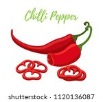 set of chilli pepper with... | Shutterstock . vector #1120136087