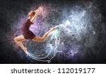 girl dancing in a color dress... | Shutterstock . vector #112019177