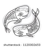 floral anatomy whales in... | Shutterstock .eps vector #1120302653