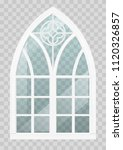 classic gothic window of wood... | Shutterstock .eps vector #1120326857