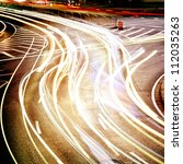 moving car with blur light... | Shutterstock . vector #112035263