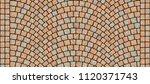 cobblestone arched pavement... | Shutterstock . vector #1120371743