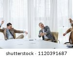 business men throwing papers... | Shutterstock . vector #1120391687