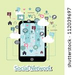 phone and social network... | Shutterstock .eps vector #112039697