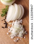Chopped Onion Wooden Background
