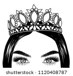 queen portrait girl with... | Shutterstock .eps vector #1120408787