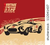 vintage sports car race | Shutterstock .eps vector #112041437