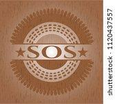 sos realistic wooden emblem | Shutterstock .eps vector #1120437557