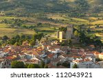Montalegre Castle in Portugal, aerial view at the sunset - stock photo