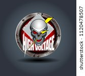 skull with light  rusty iron...