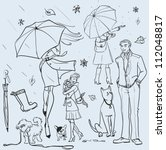 hand drawn women with umbrella  ... | Shutterstock .eps vector #112048817
