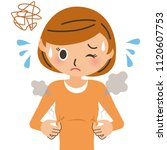 women who are stuffy with sweat | Shutterstock .eps vector #1120607753