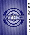 act now emblem with jean texture | Shutterstock .eps vector #1120614797