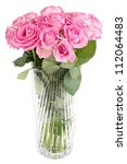 Pink rose bouquet in vase, isolated on white - stock photo