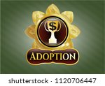 gold badge with trophy with... | Shutterstock .eps vector #1120706447