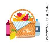 wicker picnic basket with fruit ... | Shutterstock .eps vector #1120740323