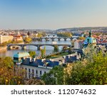 View on Prague at sunset - stock photo