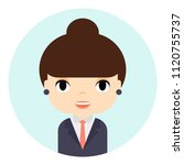 woman avatar with smiling face. ... | Shutterstock .eps vector #1120755737