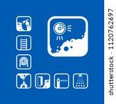 icon smoke detector. white sign ...   Shutterstock .eps vector #1120762697