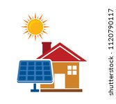 solar cell   house and sun icon.... | Shutterstock .eps vector #1120790117