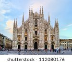 Famous Milan landmark the Duomo, at dusk, Italy - stock photo