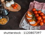 italian bruschetta with chopped ... | Shutterstock . vector #1120807397
