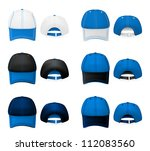 Baseball hats template. Mesh, gradients. - stock vector