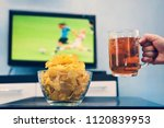 beer mug with beer in hand a... | Shutterstock . vector #1120839953