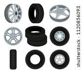 flat vector set of car disks... | Shutterstock .eps vector #1120856093