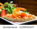 delicious seafood dish. bread... | Shutterstock . vector #1120910147