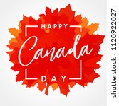happy canada day lettering on... | Shutterstock .eps vector #1120922027