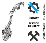 Service Norway map collage of tools. Abstract geographic scheme in grey color. Vector Norway map is done of gear wheels, spanners and other service icons. Concept for tuning workshop.