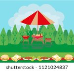 barbecue party invitation card | Shutterstock .eps vector #1121024837