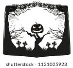 pumpkin scarecrow at night  ... | Shutterstock .eps vector #1121025923