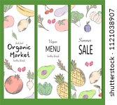 farm vegetables vector poster.... | Shutterstock .eps vector #1121038907