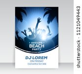 blue summer beach party flyer... | Shutterstock .eps vector #1121049443