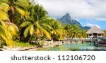Panoramic photo of beautiful Bora Bora island landscape with Otemanu maintain on background - stock photo