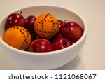 white bowl with red apples and... | Shutterstock . vector #1121068067