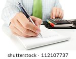 businessman counting on... | Shutterstock . vector #112107737