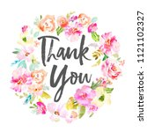 thank you calligraphy text with ... | Shutterstock . vector #1121102327