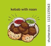 india food kebab with naan | Shutterstock .eps vector #1121135063