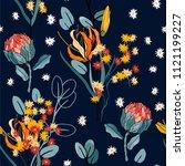 retro wild seamless flower... | Shutterstock .eps vector #1121199227