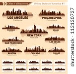 Skyline city set. 10 cities of USA #1 - stock vector