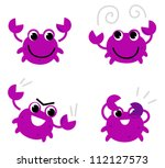 pink crab in various poses... | Shutterstock .eps vector #112127573