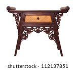 old  thai wood furniture desk isolated white - stock photo