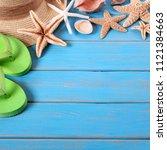 tropical beach summer starfish...   Shutterstock . vector #1121384663